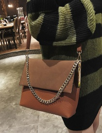 Fashion Brown Pure Color Decorated Shoulder Bag