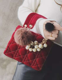 Fashion Red Pom Ball&pearl Decorated Shoulder Bag