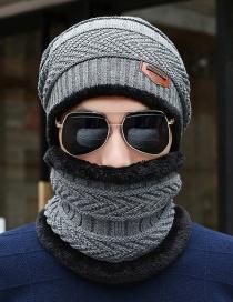 Fashion Light Coffee Geometric Knit And Velvet Warm Wool Mens Woolen Hat