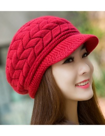 Fashion Red Pure Color Decorated Hat