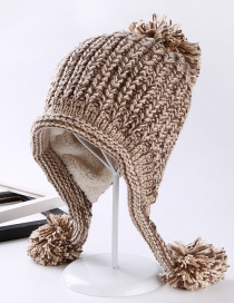 Fashion Khaki Fuzzy Ball Decorated Hat