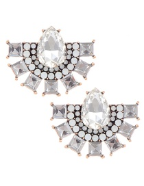 Fashion White Water Drop Shape Decoratd Earrings