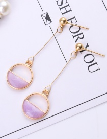 Fashion Purple Circular Ring Shape Decorated Earrings