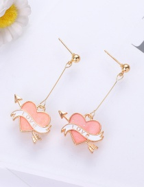 Fashion Pink Heart Shape Decorated Earrings