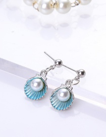 Fashion Light Blue Shell Shape Decorated Earrings
