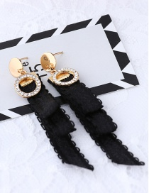 Fashion Black Circular Ring Shape Decorated Earrings