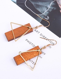 Fashion Brown Triangle Shape Decorated Earrings