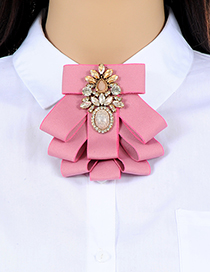 Fashion Pink Bowknot Shape Decorated Brooch