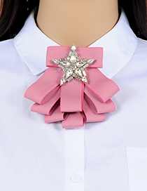 Fashion Pink Star Shape Decorated Brooch