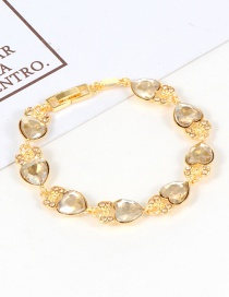Fashion Champagne Heart Shape Diamond Decorated Bracelet