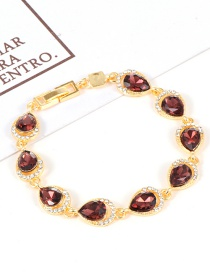Fashion Dark Red Water Drop Shape Diamond Decorated Bracelet