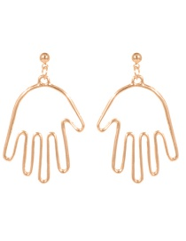 Fashion Gold Color Palms Shape Decorated Pure Color Earrings