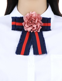 Fashion Navy Flower Decorated Simple Bowknot Brooch