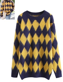 Trendy Navy+yellow Grid Pattern Decorated Long Sleeves Sweater