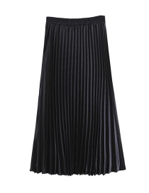 Trendy Black Pure Color Decorated Simple Skirt