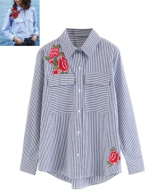 Trendy White+blue Embroidery Flower Decorated Long Sleeves Shirt