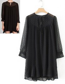 Trendy Black Dots Pattern Decorated Long Sleeves Dress