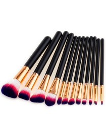 Trendy Red+white Color Matching Decorated Makeup Brush(12pcs)