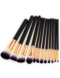 Trendy Yellow+purple Color Matching Decorated Makeup Brush(12pcs)
