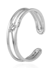 Trendy Silver Color Pure Color Decorated Opening Ring