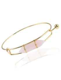 Trendy Pink Geometric Shape Decorated Simple Bracelet