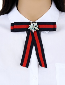 Trendy Red+navy Flower Decorated Simple Bowknot Brooch