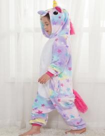 Lovely Light Purple Star Shape Decorated Unicorn Children Pajamas