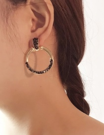 Fashion Gold Color+brown Gravel Decorated Round Earrings