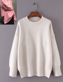 Fashion White Pure Color Decorated Sweater