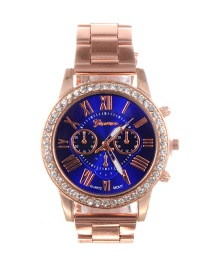 Fashion Sapphire Blue Diamond Decorated Round Dial Watch
