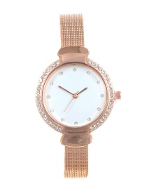 Fashion Gold Color Diamond Decorated Round Dial Watch