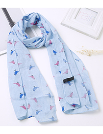 Lovely Blue Bird Pattern Decorated Child Scarf(1-12 Years Old)
