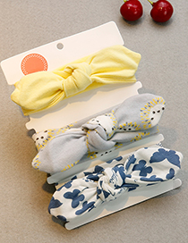 Lovely Yellow+gray Butterfly Pattern Decorated Baby Hair Band(3pcs 0-1year Old)