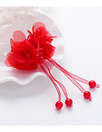 Lovely Red Flower Decorated Taseel Design Hair Claw