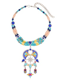 Fashion Multi-color Beads Decorated Multi-layer Necklace