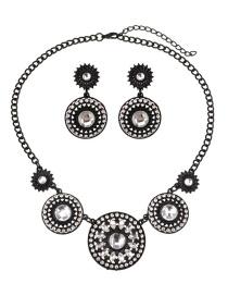 Fashion Black Round Diamond Decorated Jewelry Ets