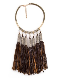 Fashion Brown Long Tassel Pendant Decorated Necklace
