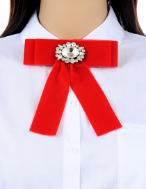 Fashion Red Diamond Decorated Bowknot Shape Brooch