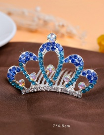 Lovely Blue Hollow Out Decorated Crown Hairpin (larger)