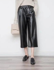 Fashion Black Pure Color Decorated Wide-leg Trousers