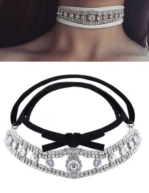 Fashion Silver Color Full Diamond Decorated Double Layer Choker
