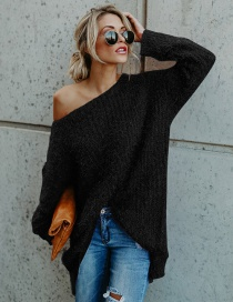 Fashion Black Pure Color Decorated Long Sleeves Sweater