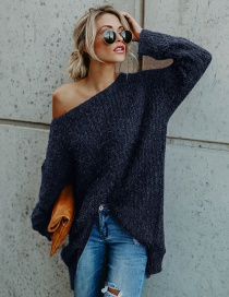 Fashion Navy Pure Color Decorated Long Sleeves Sweater