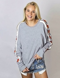 Fashion Gray Flower Decorated Long Sleeves Sweater