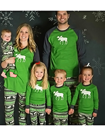 Fashion Green Elk Pattern Decorated Leisure Blouse(for Father)