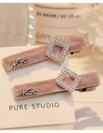 Fashion Pink Square Shape Decorated Hair Clip