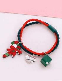 Lovely Green+red Christmas Crutches Decorated Hair Band