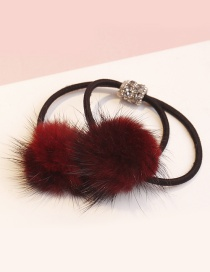 Lovely Claret Red Fuzzy Ball Decorated Double Layer Hair Band