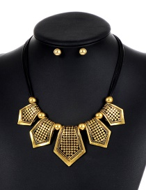 Personality Gold Color Shield Shape Decorated Jewelry Sets