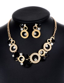 Fashion Black Round Shape Decorated Hollow Out Jewelry Sets